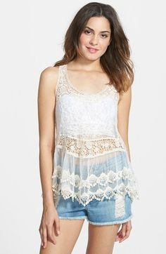LIVING DOLL Scallop Crochet Tank (Juniors) available at #Nordstrom