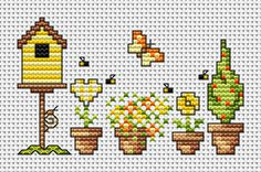 Cross-stitch Garden Pots ... no color chart available, just use the pattern chart as your color guide..