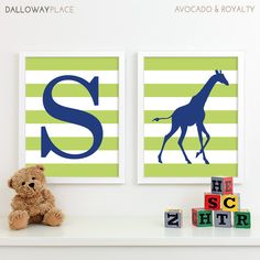 Baby Boy Nursery Art Chevron Giraffe Nursery Decor, Kids Wall Art, Safari Nursery Art Prints, Baby Name Chevron Initial Letter Art