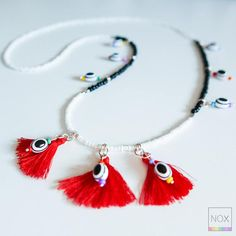 Long Seed Beads and Tiny Tassels Necklace - Boho Tribal Hippie Chic - White Black and Red