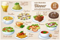 Set of food icons. Dinner. by Ann-zabella on @creativemarket