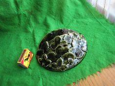 Vintage Sweden Pottery WALL PLAQUE Vase Leaves green artist Stina LXXX