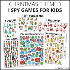 Christmas Theme I Spy Games for Kids! Each I spy game included in this pack has two pages: one with the game sheet and one with a page to record the answers. Spy Games For Kids, I Spy Games, Christmas Games For Kids, Holidays With Kids, Christmas Cats, Christmas Themes, Christmas Holidays, Math Games, Christmas Recipes