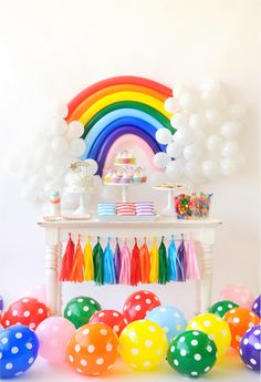Over the Rainbow Birthday Party for Kids Colorful Birthday Party (fiesta party decorations bright colors) Colorful Birthday Party, Unicorn Birthday Parties, First Birthday Parties, Birthday Party Decorations, First Birthdays, Birthday Kids, Rainbow Party Decorations, Birthday Ideas For Kids, Colorful Party