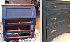 diy secretary makeover with napoleonic blue chalk paint glaze, chalk paint, decoupage, painted furniture, Napoleonic Blue L Napoleonic Blue Glaze R