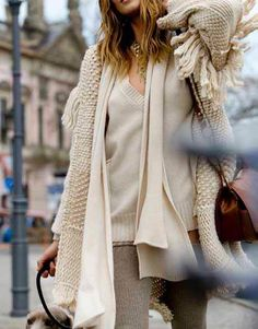Winter white layers.