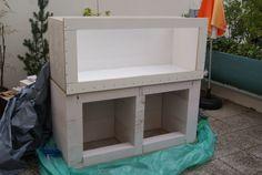 Fabrication d'un meuble en béton cellulaire pour bac polyfon