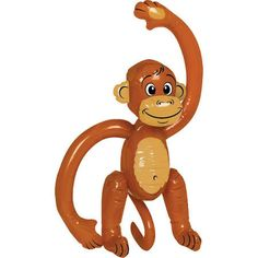 Give your little monkey a keepsake from the birthday party. This inflatable monkey is over 2 feet high and is durable enough to play with. Not recommended for children under 3 years of age. Includes 1