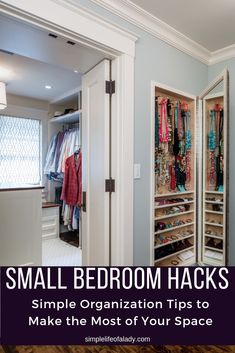 61 Simply Amazing Small Space Hacks For Your Tiny Bedroom on Best Room Ideas 2160 Small Bedroom Hacks, Small Bedroom Organization, Small Bedroom Storage, Shelves In Bedroom, Bedroom Ideas, Bedroom Makeovers, Bedroom Decor, Small Closets, Small Rooms