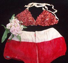 Vintage Burlesque Costume in Red Velvet and by ShopGlammasAttic, $35.00