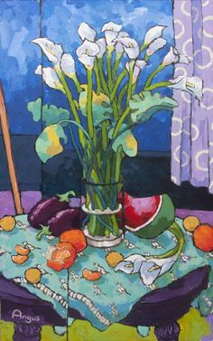 Angus Wilson Calla Lily with Eggplant and Watermelon Painting Still Life, Still Life Art, Colorful Paintings, Easy Paintings, Painting Videos, Flower Canvas, Flower Art, Painting Flowers Tutorial, Wilson Art