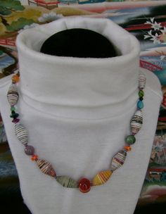 RECYCLED Paper Beaded Necklace. FREE SHIPPING  by MyGrandmasHome, $17.99