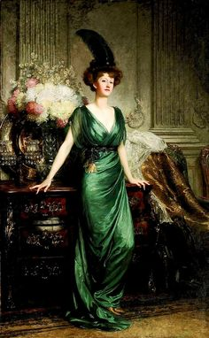 View Portrait of the Hon. Mrs Ernest Guinness, standing wearing an emerald dress and feather by Frank Dicksee on artnet. Browse upcoming and past auction lots by Frank Dicksee. Frank Dicksee, Edwardian Fashion, Vintage Fashion, Edwardian Era, Edwardian Dress, Guinness, Emerald Dresses, Sir Francis, Painted Ladies