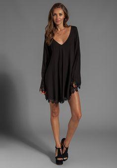 FOR LOVE & LEMONS Angelic Long Sleeve Mini Dress w/ Lace Trim in Black - For Love & Lemons