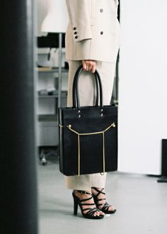 Cool embellished tall black leather tote—looks like a nice quality bag❣ & Other Stories