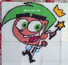 Cosmo - The Fairly OddParents hama perler beads by Deco.Kdo.Nat - Pattern: https://www.pinterest.com/pin/374291419008921498/