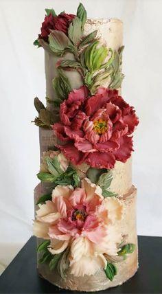 Peony Cake, Buttercream Flower Cake, Pretty Cakes, Beautiful Cakes, Amazing Cakes, Traditional Weddings, Traditional Cakes, Jam Cake Recipe, Sculpture Painting