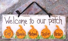 Personalized Pumpkin Sign for Fall by rhondarhinedesigns on Etsy, $18.00