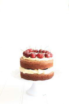 chocOlate buttermilk cake with cherries  mascarpone cream
