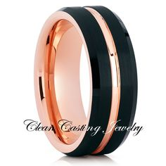 Rose Gold Center Groove Black Tungsten Brushed Ring