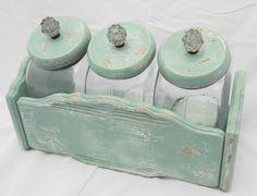 Vintage Upcycled Chippy Shabby Pale Aqua Set of Three Glass Kitchen Canisters   eBay