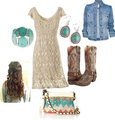 lace dress with jean jacket and cowgirl boots... cute :)