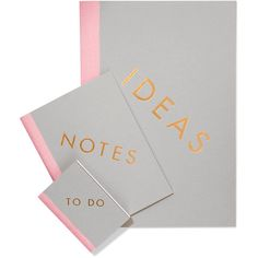 StudioSarah Set of three notebooks (113.815 COP) ❤ liked on Polyvore featuring home, home decor, stationery, filler, office and grey