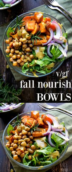Wholesome, hearty Fall Nourish bowls made up of crispy baked chickpeas & sweet potatoes all on a bed of fresh arugula, topped with a 3 -ingredient mustard dressing. A nutritious gluten-free & vegan meal, that requires less than 3 dollars and 30 minutes to prepare!