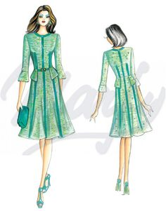 The Marfy hand made pre-cut sewing pattern :: Marfy Collection :: Autumn/Winter :: Sewing Pattern 3520 - Vintage Dress Patterns, Vintage Dresses, Vintage Outfits, Vintage Fashion, Marfy Patterns, Sewing Patterns, Fashion Art, Fashion Outfits, Womens Fashion