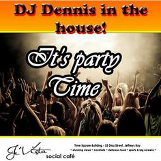 Tomorrow night sees DJ Dennis back to entertain us at Je'Vista Social Café Jeffrey's Bay. Come along and join in the fun and don't forget our buckets of specials that are on until the end of February. Live Music, Party Time, Dj, Party Clothes, Entertaining, Buckets, Night, Don't Forget, February