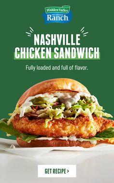 Chicken Sandwich Recipes, Soup And Sandwich, Easy Chicken Recipes, Enchiladas, Nashville Chicken, Sandwiches, 365days, Valley Ranch, Wrap