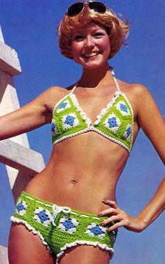 Vintage Crochet Pattern 1970s Hip Hugger Bikini Granny Square Digital Download�