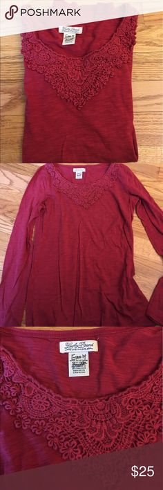 Lucky Brand Long sleeve dressy T. Size XS Lucky Brand Long sleeve dressy T. Size XS. Excellent condition. Adorable with jeans. Burgundy color. Lucky Brand Tops Tees - Long Sleeve