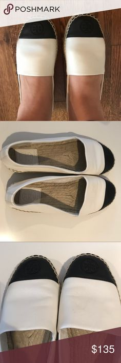 Tory Burch leather Espadrilles Like new wore only once. White and black leather upper size 8 Tory Burch Shoes Espadrilles