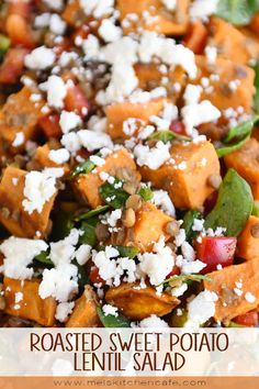 This roasted sweet potato lentil salad is next level delicious! It might look unassuming, but it is incredible and so easy to make! There is delicious. And then there's next level delicious. And this roasted sweet potato Potato Salad With Apples, Potato Salad Dill, Potato Salad Mustard, Potato Salad Dressing, Potato Salad Recipe Easy, Salad With Sweet Potato, Salad Dressing Recipes, Salad Recipes Video, Soup Recipes