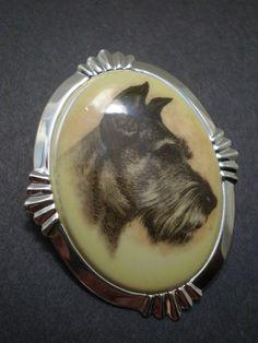 Vintage Miniature Schnauzer Dog Portrait Cameo Pin Brooch Pendant Combo