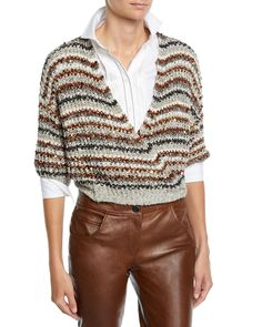 Brunello Cucinelli Pleated Monili Placket Long-Sleeve Poplin Blouse and Matching Items & Matching Items Wrap Cardigan, Cardigan Pattern, Cotton Cardigan, Pullover Design, Sweater Design, Undercut Hairstyles Women, Knit Fashion, Brunello Cucinelli, Diy Clothes