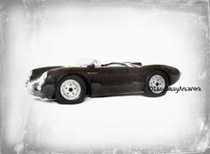 Vintage Black Porsche Car Transportation Art Print, Digital Watercolor Decor-Digital File Only, INSTANT DOWNLOAD Nursery, Toddler, Kids Room by ItsyBitsyArtWork on Etsy
