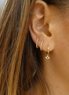 Dainty Diamond Earrings in Solid Gold / Chevron Earrings / V Stud Earrings / Delicate Diamond Studs / Graduation Gift - Fine Jewelry Ideas Evil Eye Earrings, Evil Eye Jewelry, Ear Jewelry, Cute Jewelry, Crystal Earrings, Diamond Earrings, Stud Earrings, Jewellery, Dainty Earrings