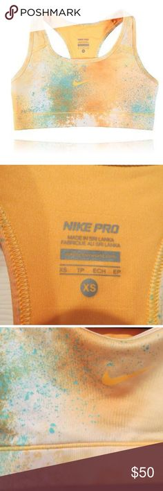 Orange yellow splatter galaxy Nike pro sports bra Size xs. Extremely hard to find. Nike pro galaxy splatter paint bra in gold yellow with blue. Won't be able to ship for about 2 weeks as I am on vacation. serious buyers only. Nike Intimates & Sleepwear Bras