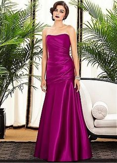 Graceful Satin Strapless Neckline Natural Waistline Full Length A-line Bridesmaid Dress 💟$218.98 from http://www.www.overpinks.com   #bridesmaid #weddingdress #dress #satin #full #waistline #natural #bridal #aline #length #strapless #bridalgown #graceful #mywedding #neckline #wedding