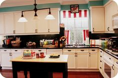kitchen red with teal aqua turquoise accents pop of pink orange