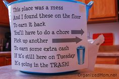 Messy Kids Solution - a great way to teach the importance of keeping neat. Maybe we adults need this too?