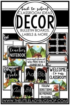 Are you looking for ideas for your next classroom decor theme? Get ready for back to school with one of our editable decor sets. There are so many to choose from and you're bound to find one you love! Some of the themes include farmhouse, boho, rustic, modern, jungle, tropical, camping, and many more. The perfect DIY bundle for any elementary classroom, including posters, name plates, alphabet posters, teacher notebook, organization labels, bulletin board decor, and more! #thelittleladybugshop