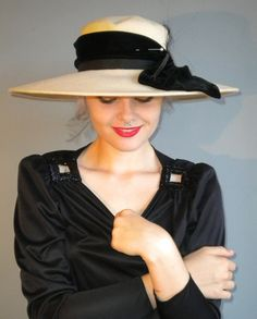 vintage DERBY wide brim hat with black velvet by DeathByVintage, $45.00