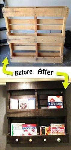 Awesome way to make a pallet into a shelf