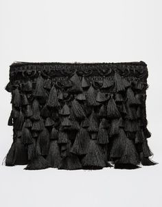 ASOS black tassel clutch