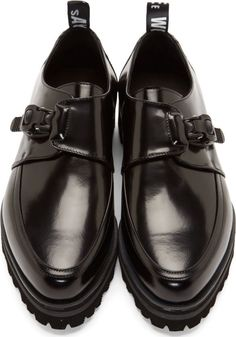 MSGM Black Leather Monk Strap Shoes