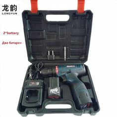 LONGYUN Rechargeable Lithium Battery*2 Cordless home 12V Electric Drill bit wall 16.8V Electric Screwdriver with Plastic case  Price: 61.48 USD