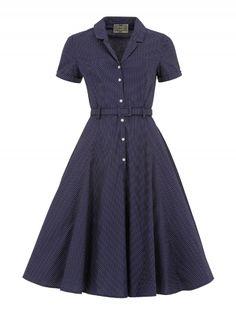 Collectif - Caterina Polka Dot Shirt Swing Dress